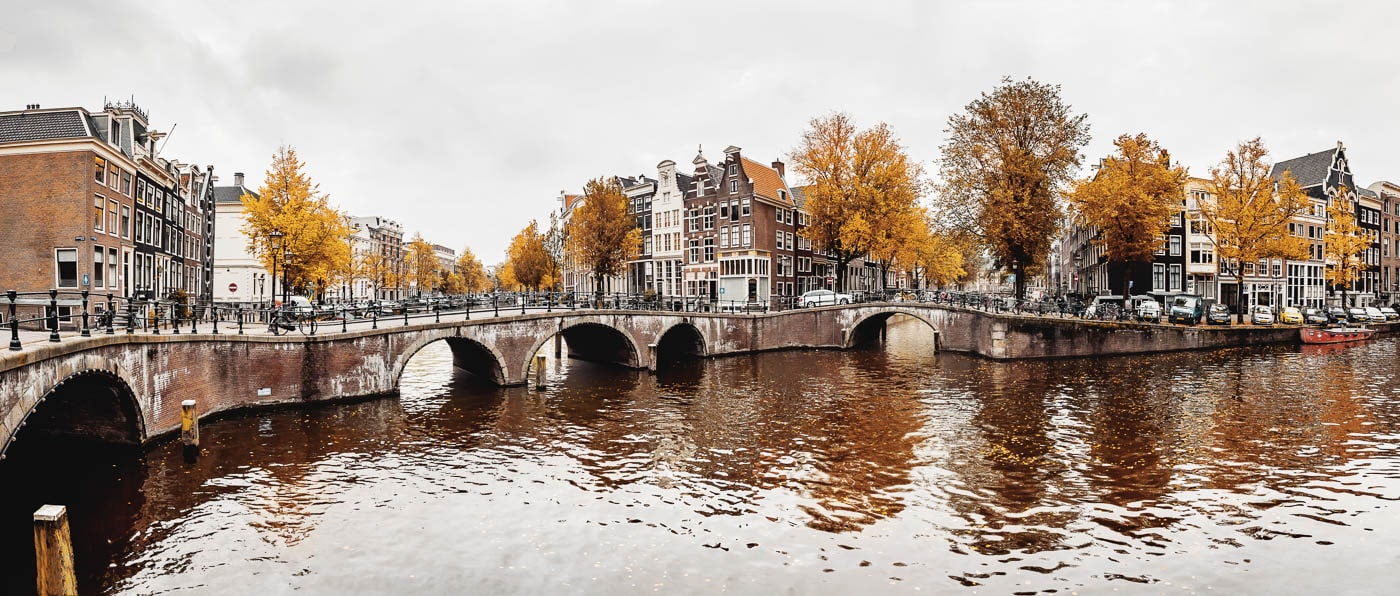 Autumn in the Keizersgracht in Amsterdam, Netherlands - Panorama