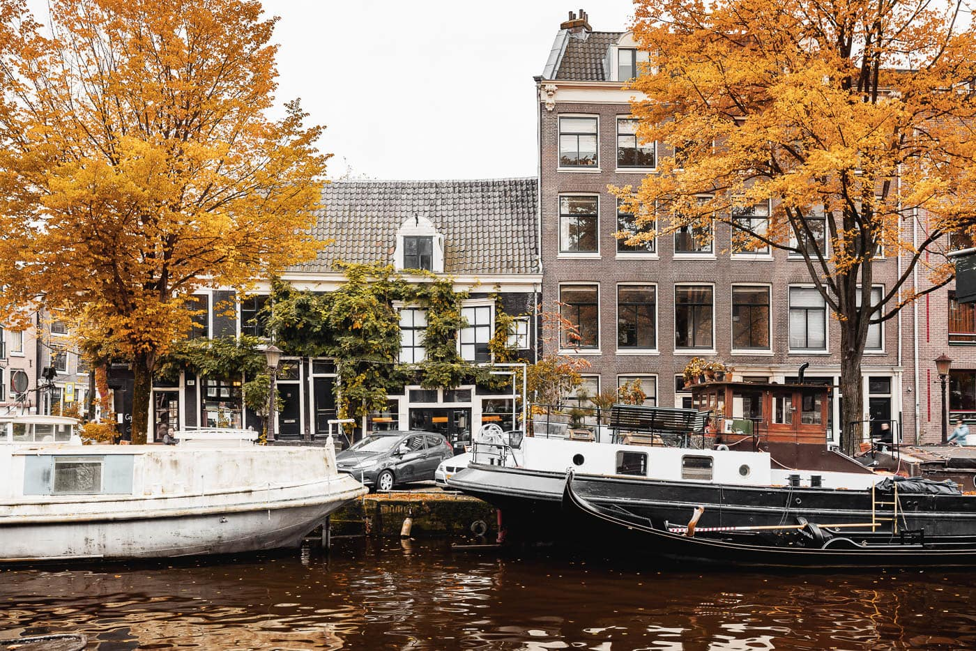 Herbst in der Brouwersgracht in Amsterdam, Niederlande