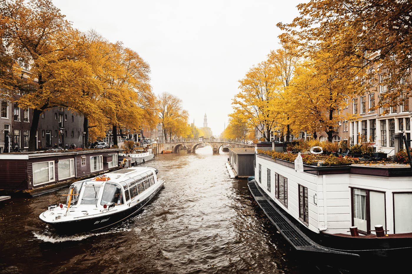 Northern part of Prinsengracht in Amsterdam, Netherlands