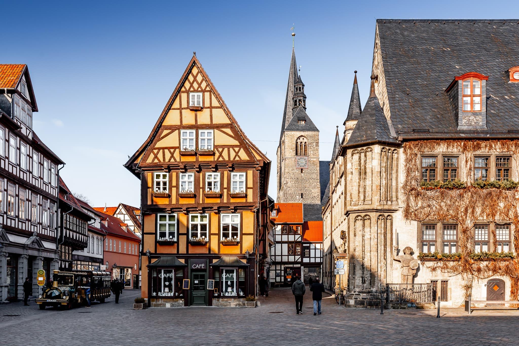 Marktplatz von Quedlinburg im Harz, Sachsen-Anhalt, Deutschland