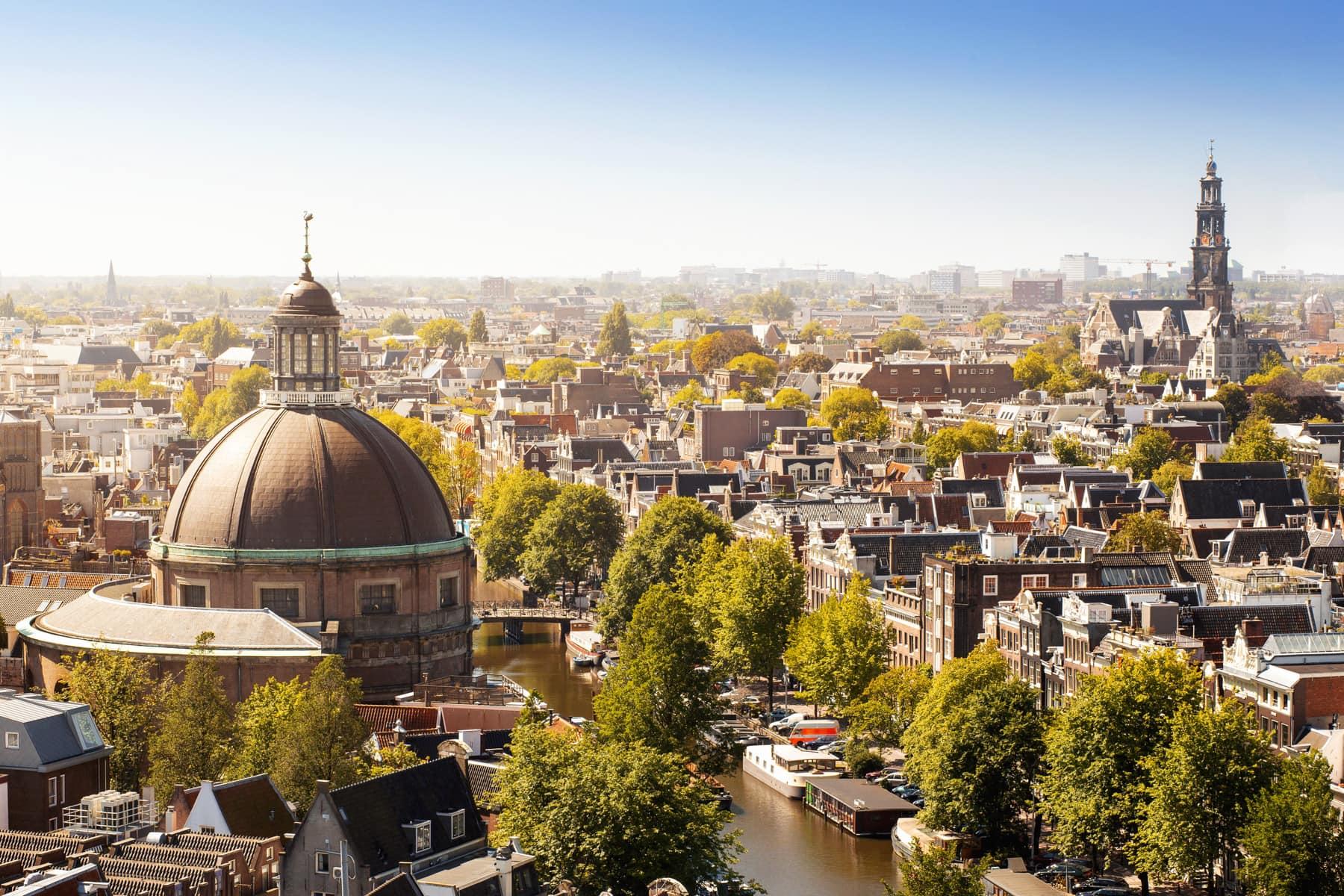 Zentrum von Amsterdam von oben