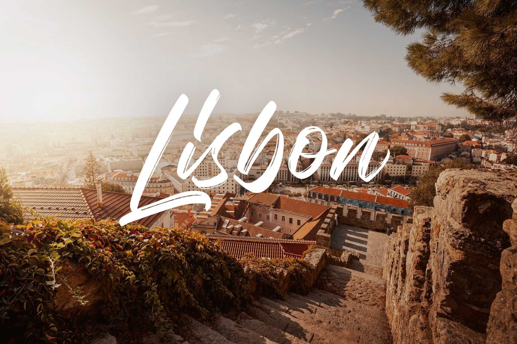 View of Lisbon city center from Castelo de São Jorge, Portugal, Europe