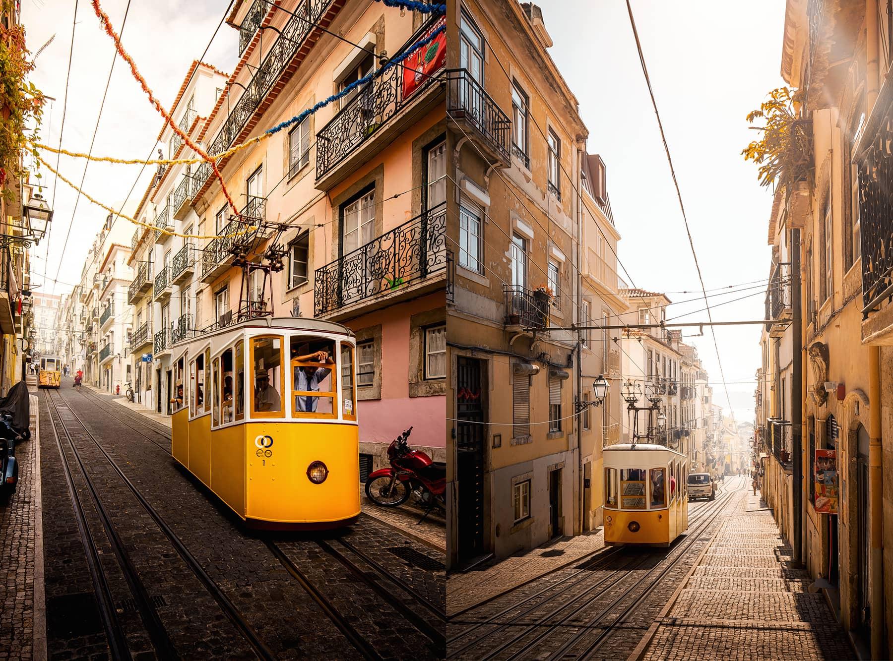 Rua da Bica de Duarte Belo mit den berühmten Lissaboner Straßenbahnen